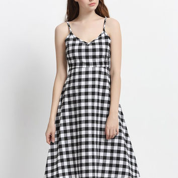 Sexy Plaid Backless Spaghetti Strap V-neck Dress For Women