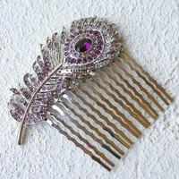 Purple Wedding Peacock Feather Hair Comb. Wedding or prom blue feather hair comb. Bridesmaid hair accessory