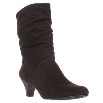 Aerosoles Wise N Shine Mid-Calf Slouch Boots, Dark Brown Combo, 9 US