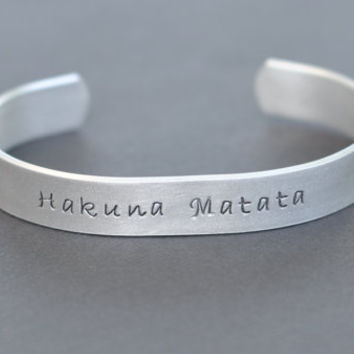 Hakuna Matata - Hand Stamped Bracelet - Personalized - Lion King Inspired