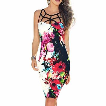 Bandage Floral Mini Dress Bodycon Party Short Midi Dresses Sexy