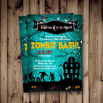 Zombie Invitation Halloween Costume Party Invite Costume zombie apocalypes birthday adult kids scary invites printable Halloween spooky