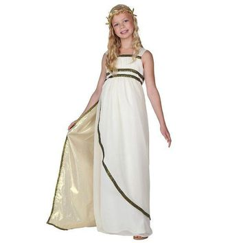 CREY6F Child Ethereal Athena Olympic Goddess Costume Greeks Historical Fancy Dress