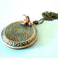 Shabby Chic Patina Locket Necklace in Antique Brass with Czech Glass Flower & Swarovski from the Vintage Garden