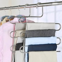 S-shaped 5 Layers Trousers Hanger Rack Bathroom Kitchen organizer Pants Holder Tie Rack for Clothes Hanger Stainless Steel