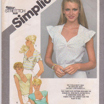 Vintage 1980s pattern for knit summer top with sweetheart neckline short sleeved or sleeveless misses size 10 12 14 Simplicity 9916 UNCUT