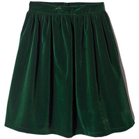ROMWE | ROMWE Pleated Zippered Green Woolen Skirt, The Latest Street Fashion
