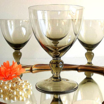 Vintage Fine Crystal FOUR goblets, smokey wine glasses,, drinking glasses, tawny stemware stem ware, Modern smoked crystal