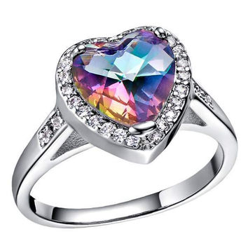 Gemstone Multi-color Silver Luxury Accessories Colorful Ring = 5839627393