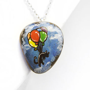 Balloon Necklace, Black Cat Pendant, Rainbow Balloons, Floating Cat Painting, Hand Painted Rock, Cat Lovers Accessory, Childrens Artwork