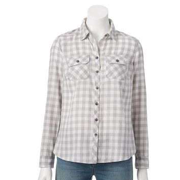 ONETOW Croft & Barrow Flannel Shirt - Petite, Size: