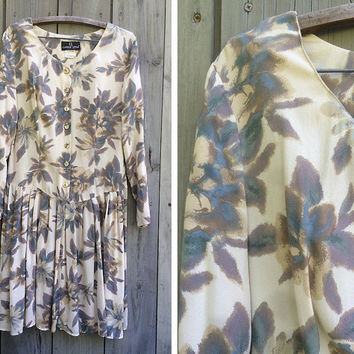 Vintage dress | Carole Little 90s pastel floral long sleeve skater skirt rayon dress
