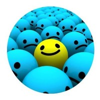 Blue Smiley Faces the Outstanding One Personalized Round Mouse Pad