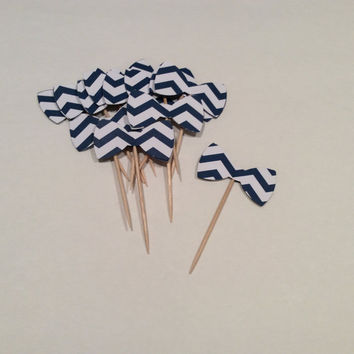 Navy Chevron Bowtie cupcake toppers. Chevron, Stripes,  Partypicks, Party decor, Baby shower;  12 per order