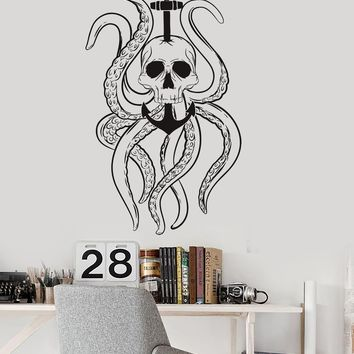 Vinyl Wall Decal Octopus Tentacles Skull Anchor Nautical Ocean Stickers Unique Gift (ig3584)
