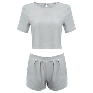 Casual Round Collar Short Sleeve Crop Top + Mid Straight Pocket Shorts Twinset for Women