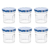 Canning Jars with Blue Plaid Lids
