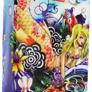 Women's Cigarette Case Mermaid Blue Box with Push Up Lid Fits Regulars