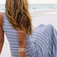 Look My Way Jersey Gray Stripe Racerback Maxi Dress