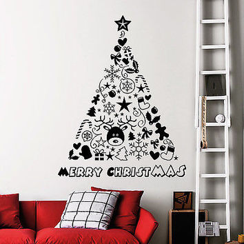 Wall Decals Christmas Tree Decoration Decal Nursery Room Decor Sticker Art MR841