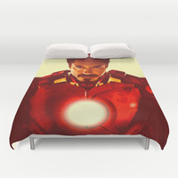 Tony Stark/ Iron Man/ Robert Downey Jr. Duvet Cover by Hands in the Sky