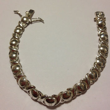 "Sterling XO Bracelet 925 Silver 7.25"" FAS Vintage Jewelry Jewellry Southwestern Christmas Holiday Birthday Xmas Mother's Gift"