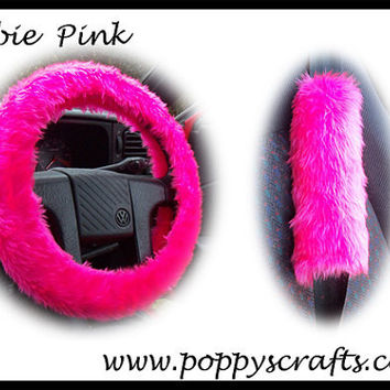 Barbie Hot Pink Car Steering wheel cover faux fur fluffy fuzzy furry and matching seatbelt pad set