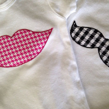 Boy Girl Twins Onesuit - Lips Onesuit and Mustache Onesuit - Boy Girl Twin Outfits - Houndstooth Onesuits, Lips and mustache Onesuit