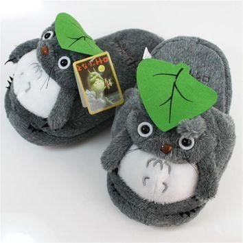 Anime My Neighbor Totoro Half Slippers Plush Shoes Indoor House Winter Fluffy Slipp