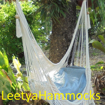 Hammock swing/Hammock chair / Chair swing /Hanging chair /Bohemian decor / Beige hammock/Crochet hammockd/Hanging bohemian furniture/gift