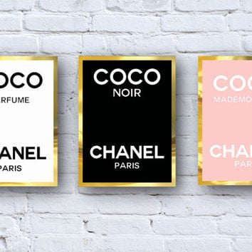 3 CoCo Chanel Perfume Logos Digital Download - Canvas - Poster - Print  - wall art home decor - framed art - perfume - Chanel