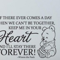 Nursery Wall Quote Art Winnie the Pooh Quote ..KEEP ME IN YOUR HEART FOREVER with Winnie Portrait Baby Room Wall Sticker Decal Children Birthday Present Baby Shower Gift - Black:Amazon:Home & Kitchen
