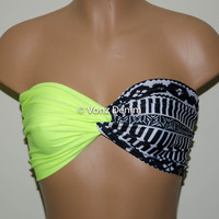 Neon Yellow and Aztec Tribal Bandeau Top, Swimwear Bikini Top, Twisted Top Bathing Suits, Spandex Bandeau Bikini