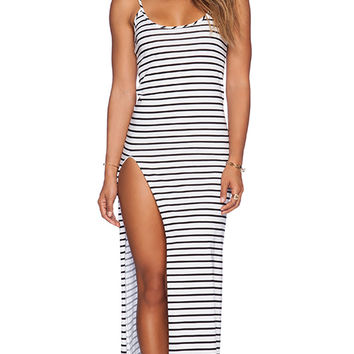 Blue Life Slit Tank Dress in White