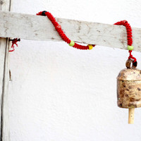 Large Wind Chime Metal Bell- Handmade Windchimes Bells with Jute Rope Beads to Hang in house for a Vintage Look,Cow bells,Wind Chime