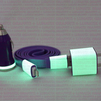 3in1 Purple Glow in the Dark iPhone Charger (For iPhone 5 and iPhone 4/4s in 3ft & 10ft cable)