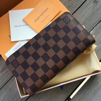 Louis Vuitton LV Fashion Women Shopping Monogram Leather High Quality Zipper Wallet Purse Coffee Tartan I-WMXB-PFSH