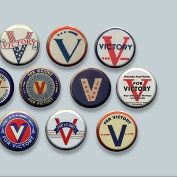 "V for Victory WWII World War 2 Effort Symbol 10 Pinback 1"" Buttons Badges Pins"
