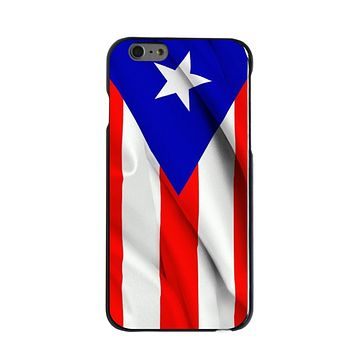 DistinctInk® Hard Plastic Snap-On Case for Apple iPhone - Red White Blue Puerto Rico Flag