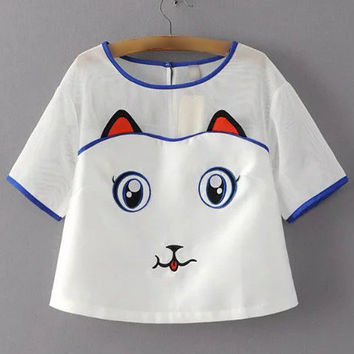 White Cat Embroidery Key-hole Sheer Blouse