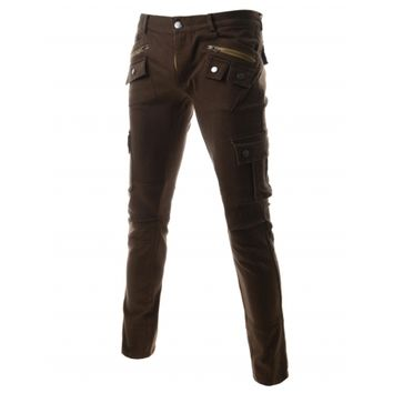 Mens Dark Brown Slim Straight Fit Pocket Washed Cargo Pants Trousers