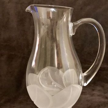 Antique Lead Crystal Water Pitcher Etched with Floral Design