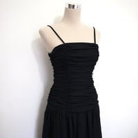 1980s black cocktail dress. VINTAGE. 80s party dress / Christmas party dress. LBD.
