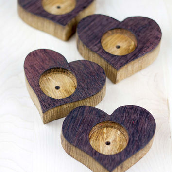 Reclaimed Wine Barrel Heart Shaped Tea Light Holders