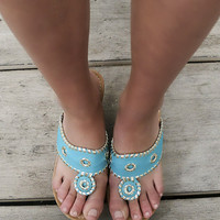 Santorini Sea Blue Embellished Thong Cork Wedges