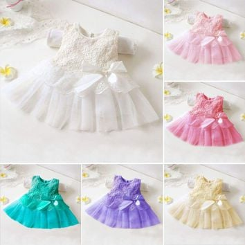Toddler Infant Baby Kid Girl Princess Party Wedding Tutu Lace Flower Tulle Dress