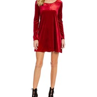Copper Key Long-Sleeve Velvet Swing Dress | Dillards
