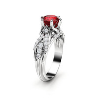 Ruby Engagement Ring 14K White Gold Ring Art Deco Engagement Ring