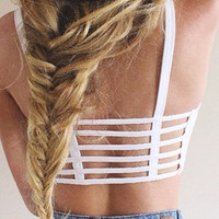 Caged Back Crop Tank - White