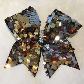 Silver Gold Reversible sequins cheer bow